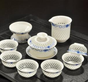 茶具套装 意峰批发新款高档礼品玲珑水晶陶瓷茶具盖碗套装特价