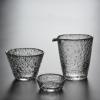 日式耐热玻璃公道杯锤纹公道杯初雪 锤纹功夫茶具 纯手工创意杯子