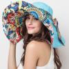 帽子夏天韩版印花遮阳帽女可折叠骑车太阳帽沙滩帽大沿户外防晒帽