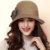 秋冬天羊毛呢花朵大沿帽 大檐礼帽女士遮阳帽毛毡帽礼帽