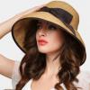 新款夏帽蝴蝶结草帽女士遮阳帽可折叠大沿夏天防晒帽子沙滩太阳