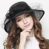 春夏季英伦时尚麻纱帽子复古宽檐宴会礼帽女太阳帽遮阳帽草帽潮