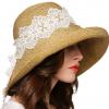 宽花边草帽凉帽 女士遮阳帽可折叠大沿帽 夏天防晒帽子沙滩帽