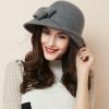 高贵大蝴蝶结英伦帽子春季羊毛呢女帽圆顶不规则卷边韩国礼帽