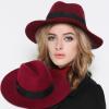秋冬新款羊毛呢礼帽女 英伦风爵士帽遮阳帽春季毛呢帽子