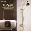 欧式奢华金色仿古淋浴花洒套装 全铜镀金升降浴室冷热恒温花洒