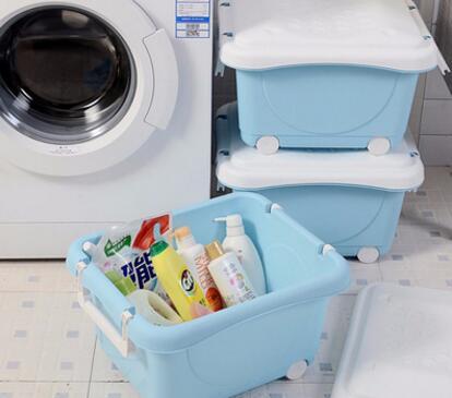 厂家直销带盖儿童衣物玩具收纳整理滑轮箱时尚卡通塑料储物箱