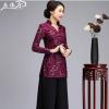 秋冬女式唐装套装改良蕾丝民族旗袍上衣中长款妈妈装长袖大码