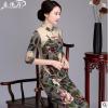 春唐装旗袍上衣女短款改良时尚复古民族亚麻七分袖妈妈装两件套