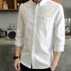 夏季新款男士衬衫七分袖时尚青年纯色修身翻领衬衣休闲中袖男装潮