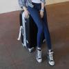 2018韩国深蓝色高腰修身时尚显瘦小脚裤学生牛仔裤女【秋冬款】