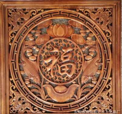 东阳木雕香樟木挂件 实木雕刻 方形四季福字挂件 背景墙装饰