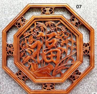 东阳木雕挂件壁饰仿古中式客厅八角四季福80全实木香樟木家饰挂饰