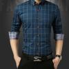 2018新款男士衬衣男青少年韩版修身格子衬衫翻领时尚休闲上衣寸衫