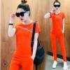 2018夏天短袖休闲两件套新款短款时尚潮韩版运动服套装女厂家直销