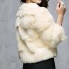 17批发价起批兔皮脖头拼接超可爱女士短款外套 女士保暖上衣