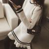 圆领长袖木耳边针织衫2018传时尚中长款宽松打底裙百搭条纹毛衣女