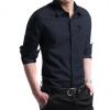 2018春夏男式衬衫长袖纯棉牛津纺衬衣男青年商务纯色寸衫韩版修身