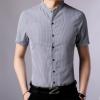 2018夏季新款青年男式条纹短袖衬衫韩版潮流修身男式休闲立领衬衣