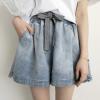 条纹抽绳牛仔短裤 女2018夏季新款韩版宽松休闲裤 18001
