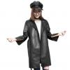 时尚新款绵羊皮修身显瘦中长款皮衣真皮开叉喇叭袖风衣腰带收腰女