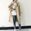 2018韩版纯色翻领长袖春秋风衣女 中长款连帽工厂直销薄外套女装