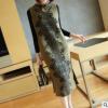 2018春季新款女装 气质中长款针织连衣裙 无袖时尚开叉长款旗袍