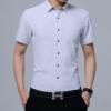 2018夏薄款男式短袖衬衫青年韩版修身免烫衬衣休闲纯色一件代发