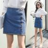 2018新款春季韩版弹力牛仔裙半身裙高腰纽扣短裙