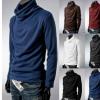 2018秋款热卖男装堆堆领打底衫 纯色高领打底针织衫外贸爆款