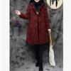 冬季新款女装棉麻夹棉提花盘扣刺绣连帽棉衣外套1381 098
