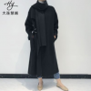 大围巾可脱卸 2018年秋冬韩版女装双面羊绒大衣 毛呢外套工厂批发