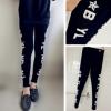 韩国潮牌两排字母印花老鹰修身显瘦薄款打底裤女式长裤外穿春秋