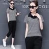 运动服套装女夏季2018新款韩版夏天休闲女装时尚短袖七分裤两件套