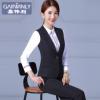 厂家直销 新款职业装女套装黑色西装马甲女士工作服背心加工定制