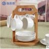 陶思想 创意杯碟 咖啡杯套装配木架 陶瓷杯碟套装 咖啡杯碟 杯碟