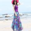 2017夏季新款大摆裙紫色印花雪纺半身裙海边沙滩度假长款半身裙