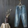 夏季女裤休闲裤文艺刺绣贴布牛仔裤七分裤磨白做旧牛仔哈伦裤