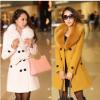 毛呢外套女中长款2017冬装韩版女装大毛领呢子大衣双排扣女外套潮