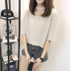 实拍 夏装新款韩版网纱拼接短袖T恤女性感V领挂脖亮丝打底衫