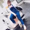 大码牛仔背带裤女胖mm2018春款韩版宽松显瘦弹力连体长裤4219