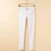 欧美春夏装新款拼接铆钉白色高弹力修身显瘦牛仔裤女装批发S4-014