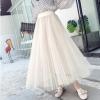 实拍2018春夏新款网纱半身裙超仙甜美气质大摆三层百褶裙女RC3703