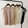 [比正]2018夏款新款 气质外穿镂空蕾丝装饰冰丝无袖针织背心8808
