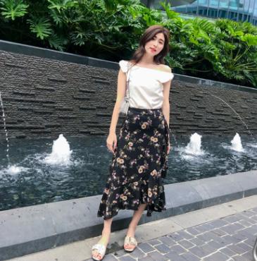 大码女装2018韩版新款胖mm女装气质显瘦碎花半身裙A字长裙200斤