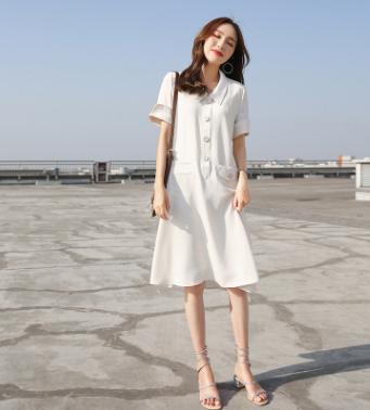 2018夏季新款白色小清新初恋衬衫裙子法式少女宽松孕妇连衣裙