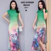 吉布森品牌2017年夏装长款显瘦显优雅气质全件印花旗袍 精品高端