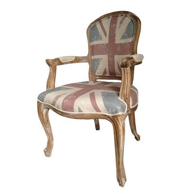 [现货]米字旗优雅欧式扶手椅橡木原木高弹海绵餐椅办公椅