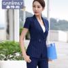 夏季竖条纹短袖小西装女士职业装包裙套装OL商务正装4S酒店工作服
