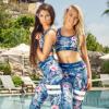 亚马逊 速卖通 2018欧美爆款女装数码印花速干弹力瑜伽运动套装女